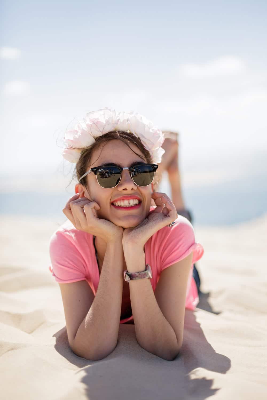 shooting photo pour la future mariée lors de son EVJF à Arcachon, sur la dune du Pyla, Dune du Pilat, sur la plage