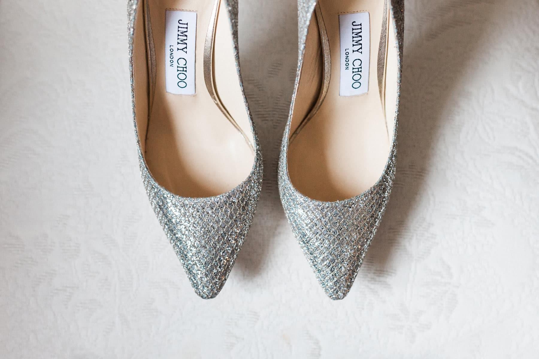 chaussures de mariées Jimmy Choo, chaussures à paillettes argentées